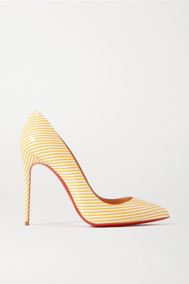 Christian Louboutin Pigalle Follies 100 Striped Patent-leather Pumps - Yellow