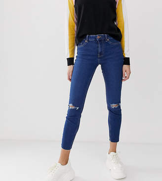 New Look ripped skinny jeans in mid blue