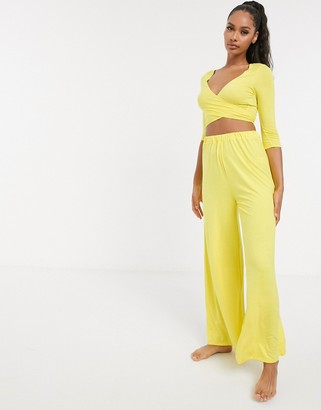ASOS DESIGN mix & match wide leg jersey pyjama trouser in yellow