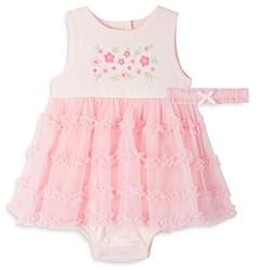 Little Me Girls' Garden Flower Bodysuit Dress & Headband Set - Baby
