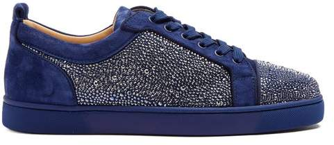 hot sales cf071 40579 Louis Strass Embellished Leather Trainers - Mens - Blue