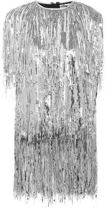 MSGM Fringed Sequined Georgette Blouse