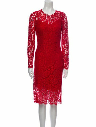 Dolce & Gabbana Lace Pattern Midi Length Dress Red