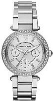 Michael Kors Silvertone Mini Parker Stainless Steel Crystal Bezel Ladies' Bracelet Watch