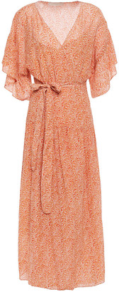 Vanessa Bruno Lolita Ruffle-trimmed Printed Seersucker Midi Wrap Dress