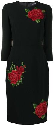 Dolce & Gabbana Embroidered Rose Midi Dress