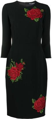 Dolce & Gabbana Rose-Embroidered Sheath Dress