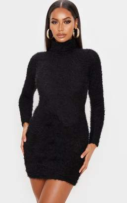 PrettyLittleThing Black Eyelash Cowl Neck Bodycon Jumper Dress