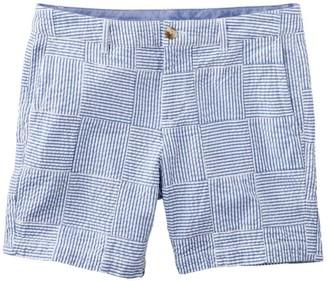 "L.L. Bean Women's Washed Chino Shorts, Seersucker Patchwork 6"""