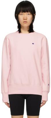 Champion Reverse Weave Pink Logo Sweatshirt