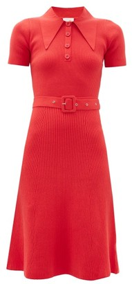 JoosTricot Peachskin Point-collar Ribbed Cotton-blend Dress - Red