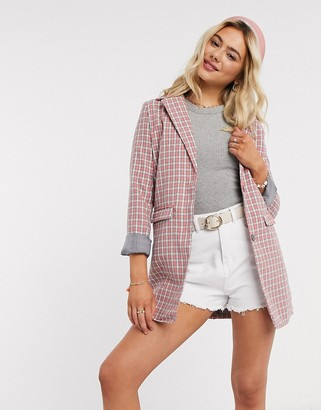 Heartbreak oversized blazer in pink and grey check