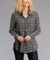 Stetson Black & Red Scarf Print Button-Up Top - Women