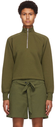Rag & Bone Khaki Fleece Cut-Off Half-Zip Sweater