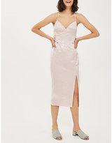 Topshop Corset-detail jacquard midi dress