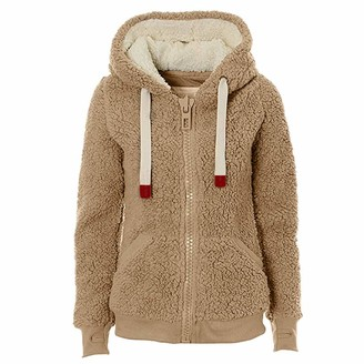 Celucke Womens Soft Teddy Fleece Coat Casual Hooded Jumper Hoody Jacket Coat Taupe Outwear