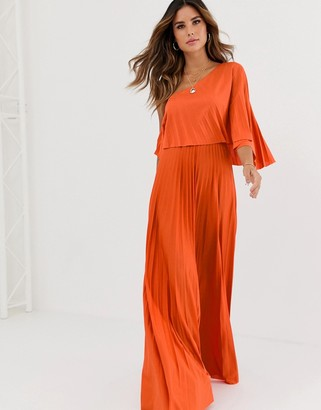 Asos Design DESIGN one shoulder pleated crop top maxi dress-Orange