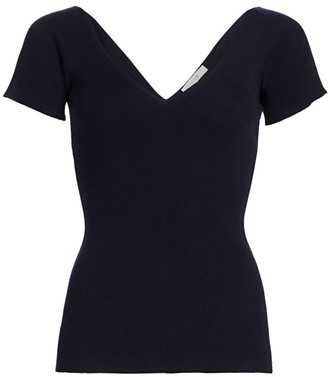 The Row Tain Merino Wool & Cashmere Ribbed Top
