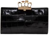 Alexander McQueen Black Croc-Embossed Knuckle Clutch