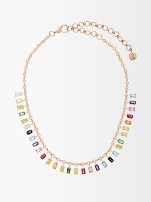 Shay Dot Dash Rainbow Diamond & 18kt Gold Choker - Multi