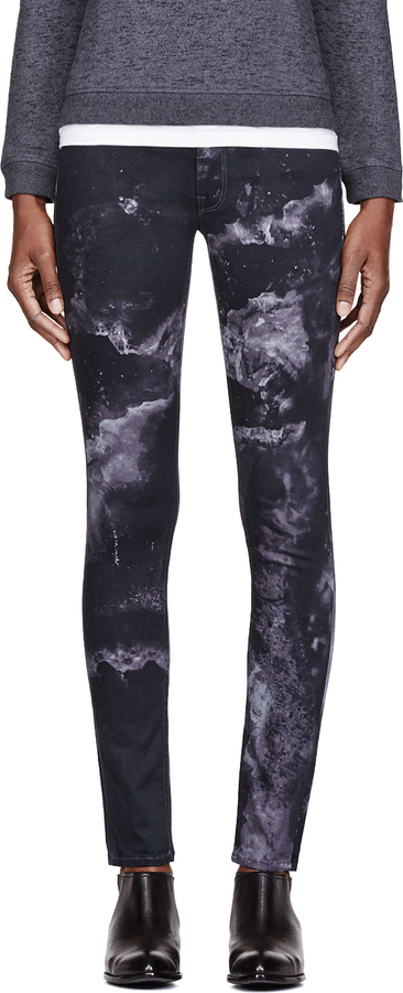Mother Black Marbled The Muse Freja Edition Straight Skinny Jeans