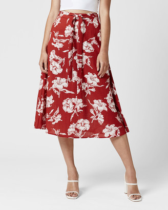 MVN - Women's Red Midi Skirts - Florentine Skirt - Size One Size, 6 at The Iconic