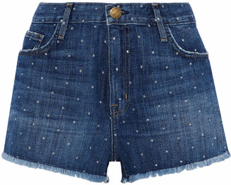 Current/Elliott Distressed Printed Denim Shorts