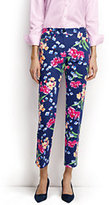 Classic Women's Mid Rise Chino Crop Pants-Jet Black Floral