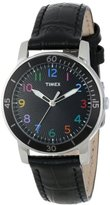 Timex Women's T2P050KW Ameritus Sport Black Dial Multi-Colored Numbers, Black Croco Patterned Leather Strap Watch