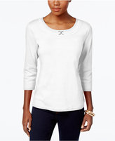 Karen Scott Petite Buckle-Detail Top, Only at Macy's