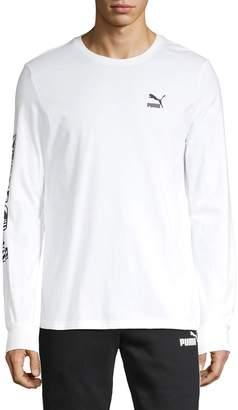 Puma Logo Long-Sleeve Cotton Tee