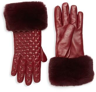 Valentino Quilted Rabbit Fur-Trim Leather Gloves