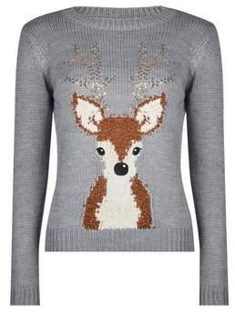 Dorothy Perkins Womens Petite Grey Sequin Reindeer Jumper, Grey