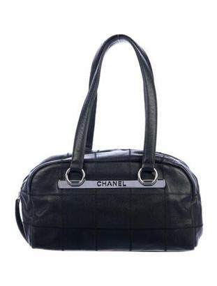 Chanel Square Quilt LAX Bowling Bag Black