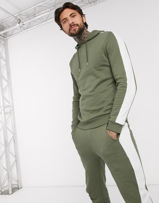Asos DESIGN tracksuit with hoodie & side stripe in khaki