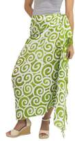 Handcrafted Thai Silk Batik Sarong in Green and White, 'Lime Spiral'