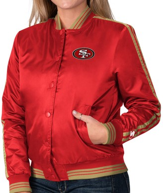 Women's Starter Red San Francisco 49ers Overtime Varsity Satin Full-Snap Jacket