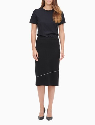 Calvin Klein Asymmetric Seamed Stripe Sweater Skirt
