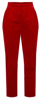 Dolce & Gabbana High-rise Velvet Trousers - Womens - Red