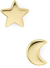 Argentovivo Moon & Star Stud Earrings