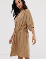 Vila gathered waist linen utility dress