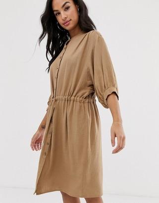 Vila gathered waist linen utility dress-Beige