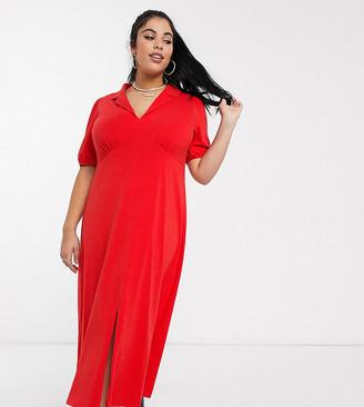 Asos DESIGN Curve ultimate midi tea dress with collar in red