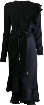 Sacai patchwork panelled midi dress