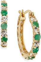 Macy's Emerald (7/8 ct. t.w.) and White Topaz (1-1/10 ct. t.w.) Hoop Earrings in 18k Gold over Sterling Silver, 23mm