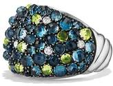 David Yurman Osetra Dome Ring with Hampton Blue Topaz, Peridot and Diamonds