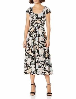 Chaps Women's Petite Short Sleeve Floral Jersey Dress
