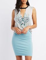 Charlotte Russe Graphic Cut-Out Muscle Tank