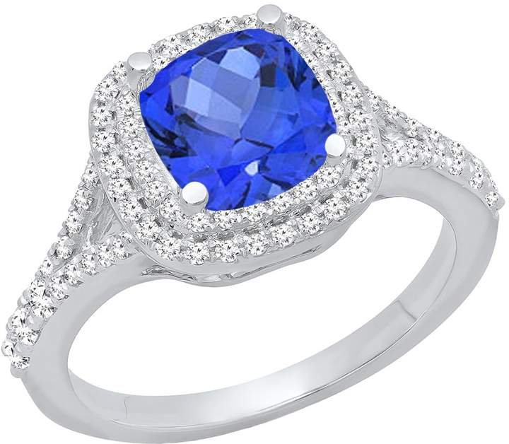 DazzlingRock Collection 14K White Gold Cushion Cut 6.5 MM Tanzanite & Round White Diamond Halo Engagement Ring (Size 6)