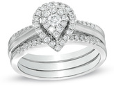 Zales 1/2 CT. T.W. Diamond Cluster Pear-Shaped Frame Bridal Set in 10K White Gold